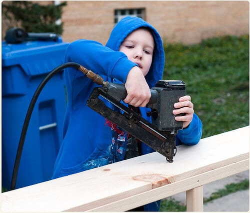 danny helping with nail gun